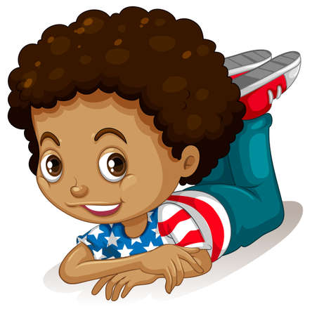 child hair: Little boy with curly hair illustration