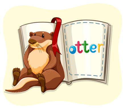 cute animal cartoon: Cute otter and a book illustration
