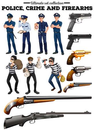 criminal: Police and criminal set illustration