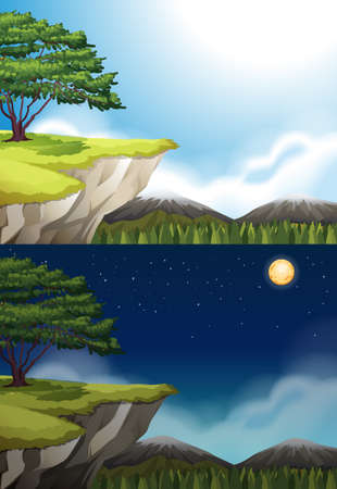 cliffs: Nature scene of cliff at night and day illustration