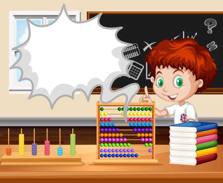 clases: Niño de pie en la ilustración de la clase de matemáticas