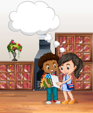 chat room: Boy and girl in the library illustration