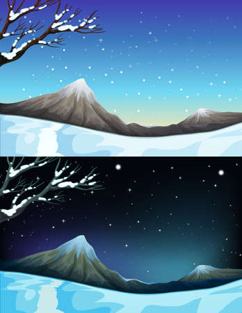 winter scene: Nature scene during winter illustration