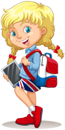 blonde teenager: Little girl with schoolbag and tablet illustration Illustration
