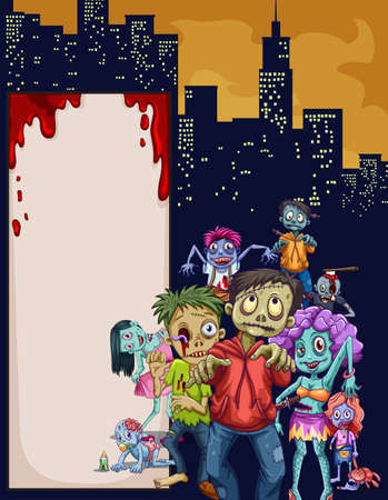 ghost town: Zombies in the city  illustration