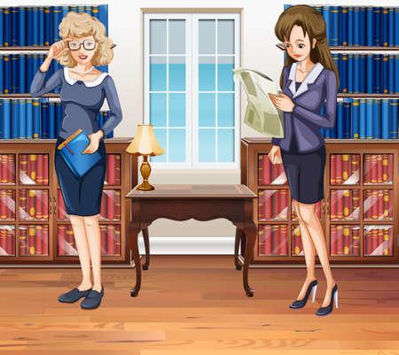 businesswomen: Businesswomen reading papers in the room illustration Illustration