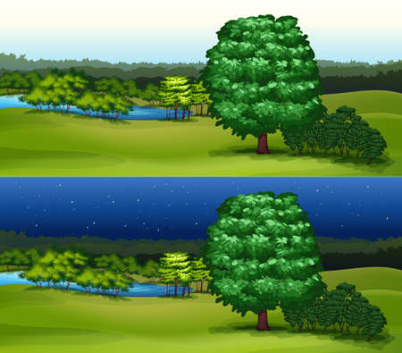 night time: Green field at daytime and night time illustration