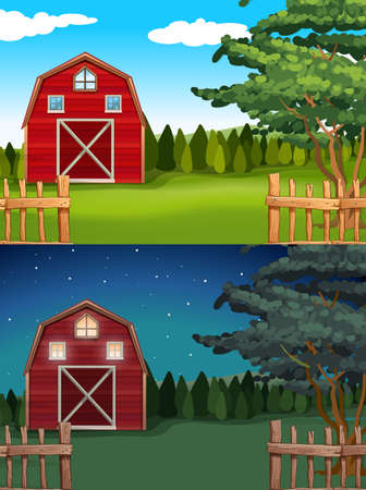 barns: Red barn in the farm at day and night illustration Illustration
