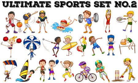 character cartoon: Various kind of sports illustration