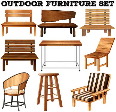 silla de madera: Al aire libre de madera juego de muebles ilustración