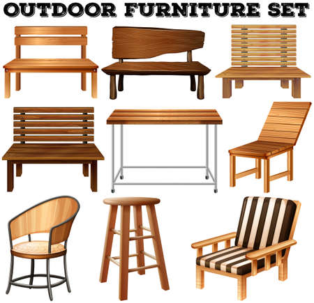 wooden chair: Outdoor wooden furniture set illustration