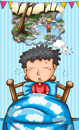 dreaming: Boy in bed dreaming of fishing illustration