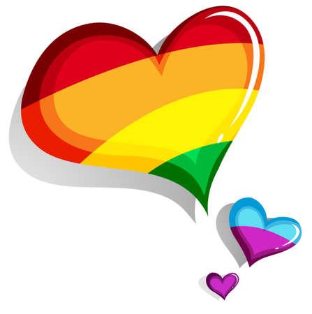 gay pride rainbow: Colorful heart design on white illustration Illustration