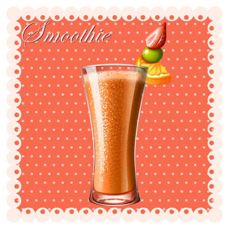 smoothie: Orange smoothie with fresh fruits illustration