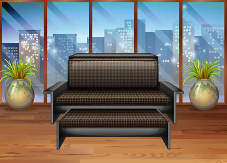 windows home: Living room with view from window illustration
