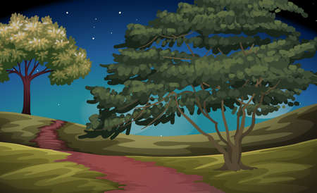 dirtroad: Nature scene of countryside at night illustration