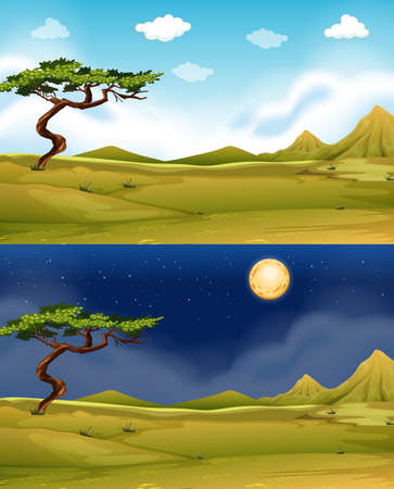 night: Green field at daytime and nighttime illustration