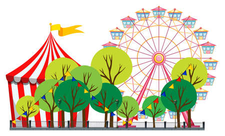 amusement park rides: Circus scene with tent and ferris wheel illustration