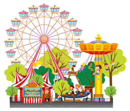 amusement park rides: Children having fun at the circus illustration