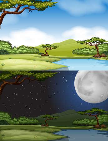 daytime: River scene at daytime and nighttime illustration