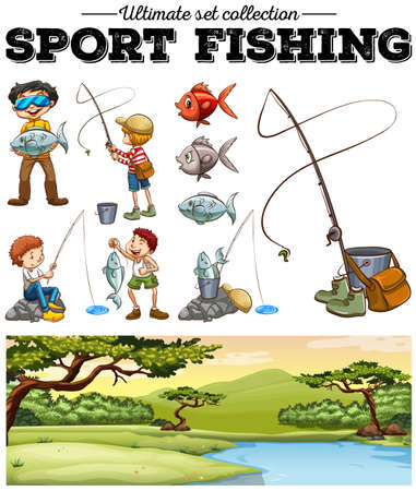 fishing scene: People fishing and river scene illustration
