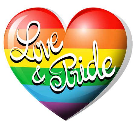 heart clipart: Love and pride on rainbow heart illustration
