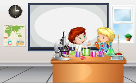 Children working on lab experiment illustration 矢量图像