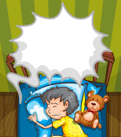 Boy in bed having nightmare illustration Illustration
