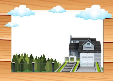 driveway: House with garage and driveway illustration Illustration