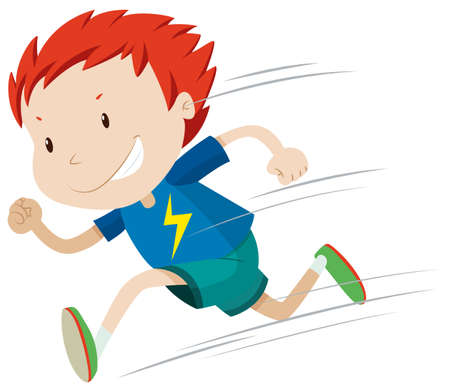 fast: Boy running very fast illustration