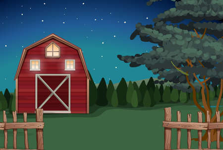 farmhouse: Farmhouse on the farm at nighttime illustration