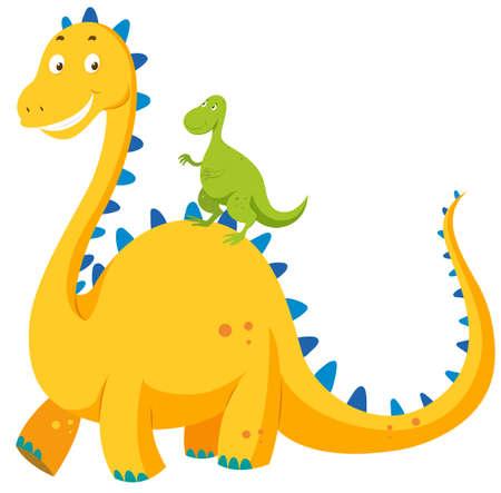 big and small: Big dinosaur and small dinosaur illustration Illustration