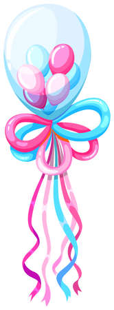 art background: Decorating balloons in blue and pink illustration