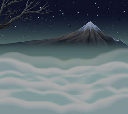 fog: Nature scene with fog on the mountain peak illustration Illustration