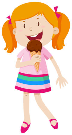 little girl eating: Little girl eating chocolate ice-cream illustration Illustration