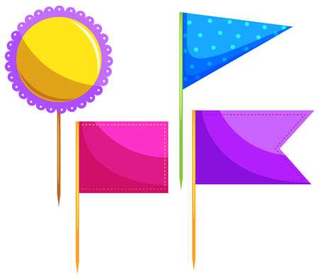 toothpick: Different design of food flag illustration Illustration