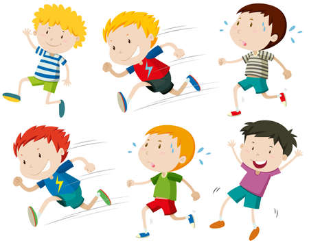 athletes: Boys running fast and slow illustration Illustration