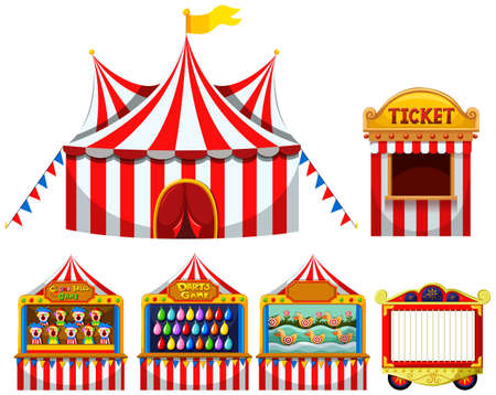 amusement park rides: Circus tent and game boothes illustration