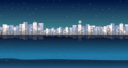 night time: City view at night time illustration Illustration
