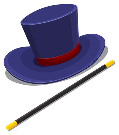 fantacy: Magician hat and magic wand illustration