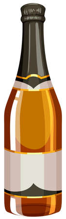 isolated ingredient: Bottle of champagne with sealed cap illustration Illustration