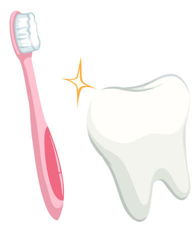 cleanliness: Dental theme with tooth and toothbrush illustration