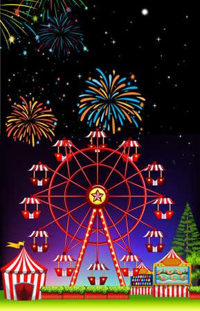 theme park: Theme park at night with firework illustration