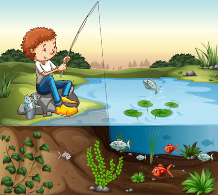 Boy fishing by the river illustration Stock fotó - 48833429