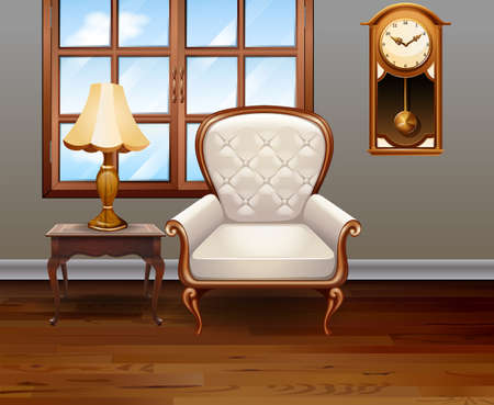 luxury furniture: Living room with luxury chair and furniture illustration