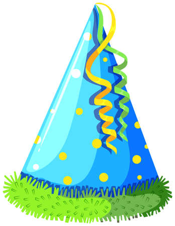 party hat: Party hat with blue color illustration