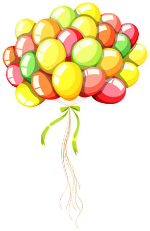 coloful: Coloful balloons with green ribbon illustration