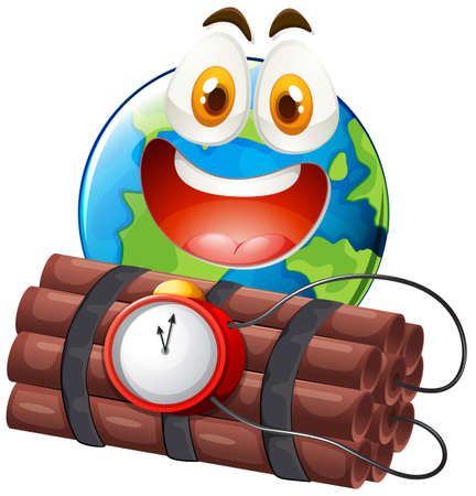 greenhouse effect: Earth with happy face and time bomb illustration