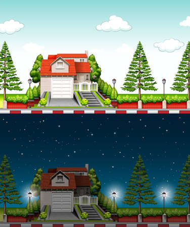 modern house: Private house at day time and night time illustration Illustration