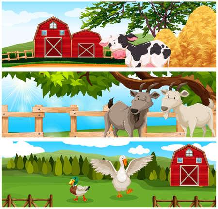 farmland: Farm animals on the farmland illustration